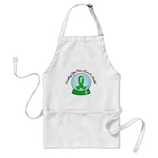 Kidney Cancer Ribbon Merry Christmas Snowglobe Aprons