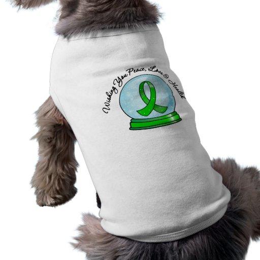 Kidney Cancer Ribbon Merry Christmas Snowglobe Dog T-shirt