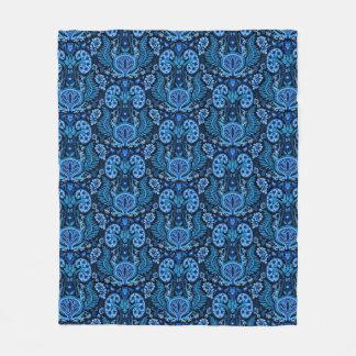 Kidney Damask in Navy Blue Fleece Blanket