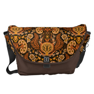 Kidney Damask Rich Wooden Tones Courier Bags