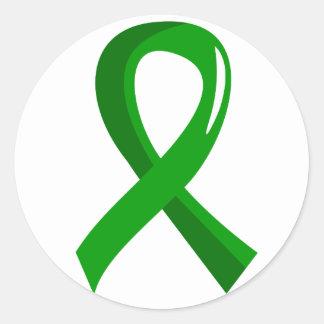 Kidney Disease Green Ribbon 3 Round Sticker