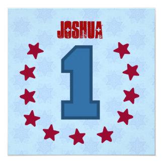 Kids 1st Birthday 1 Year Old Red Blue Stars V14A 13 Cm X 13 Cm Square Invitation Card
