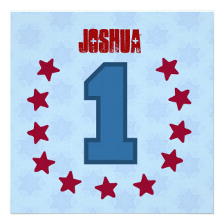 Kids 1st Birthday 1 Year Old Red Blue Stars V14A Personalized Announcement