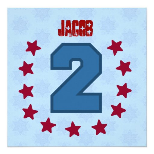 Kids 2nd Birthday 2 Year Old Red Blue Stars V14B Personalized Announcement