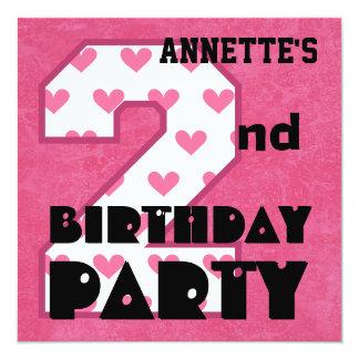 "Kid's 2nd Birthday Pink HEARTS Custom Name V05 5.25"" Square Invitation Card"