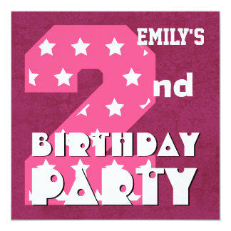 "Kid's 2nd Birthday Pink STARS Custom Name V01 5.25"" Square Invitation Card"