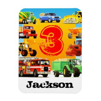 Kid's 3rd Birthday Construction Truck Rectangular Photo Magnet