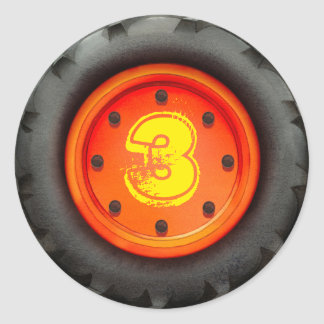 Kid's 3rd Birthday Construction Truck Party Classic Round Sticker