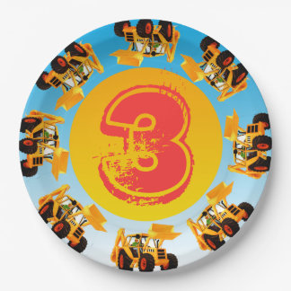 Kid's 3rd Birthday Digger Construction Truck Party 9 Inch Paper Plate