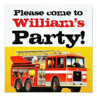 Kid's 3rd Birthday Fire Truck Party 13 Cm X 13 Cm Square Invitation Card