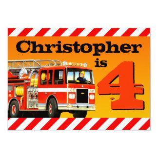 Kid's 4th Birthday Fire Truck Party 13 Cm X 18 Cm Invitation Card