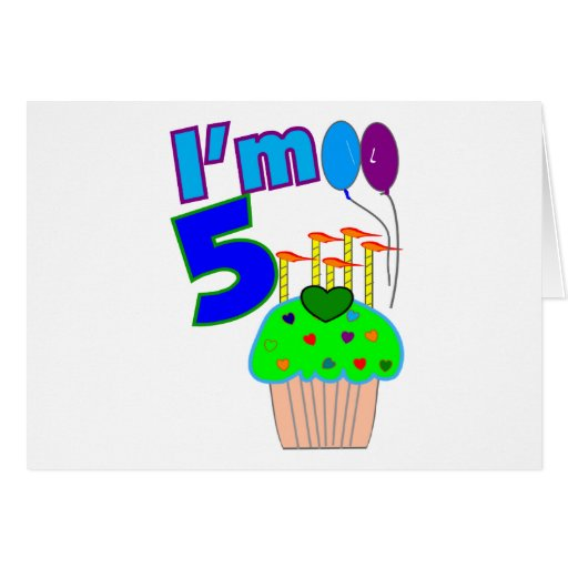 Kids 5 year old Birthday shirts and gifts Greeting Card