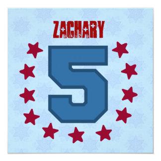 Kids 5th Birthday 5 Year Old Red Blue Stars V14E 13 Cm X 13 Cm Square Invitation Card