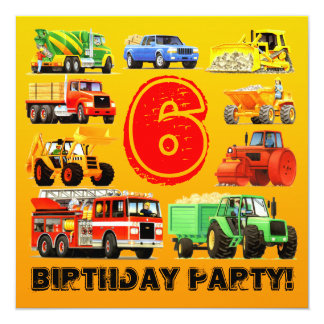 Kid's 6th Birthday Custom Construction Truck Party 13 Cm X 13 Cm Square Invitation Card