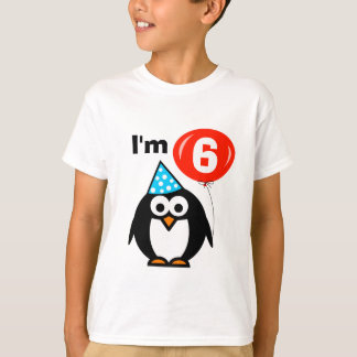 Kids 6th Birthday shirt with funny penguin cartoon