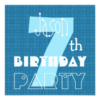 Kid's 7th Birthday Seven Year Old Blue White 007 Card