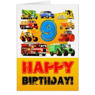 Kid's 9th Birthday Truck Greeting Card