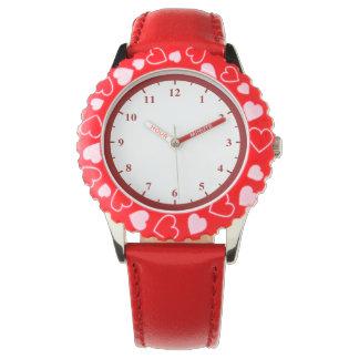 Kid's Adjustable Bezel Red Hearts Watch