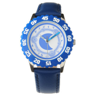 Kid's Adjustable Bezel Stainless Steel Blue Number Watch