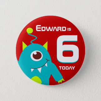 Kids alien name age button badge