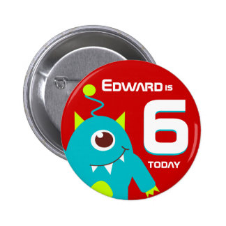 Kids alien name age button badge