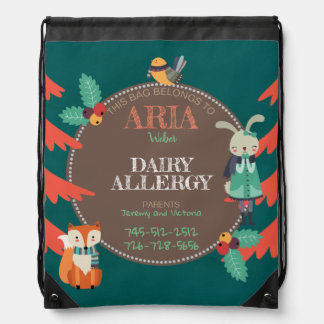 Kids Allergen Cute Woodland Winter Animal Drawstring Bag