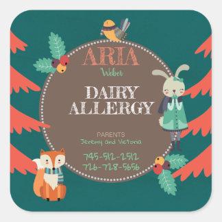 Kids Allergen Cute Woodland Winter Animal Square Sticker