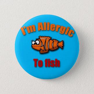 Kids allergy alert fish 6 cm round badge