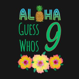 Kids Aloha Tropical Luau 9 Years Old Birthday T Shirt