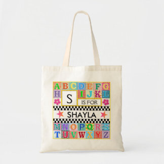 Kids Alphabet Art School Pink Star Budget Tote Bag