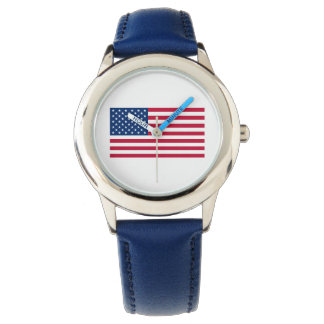 Kids' American Flag Watch (Blue Leather Strap)