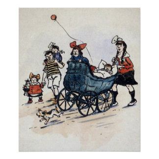 Kids And Carriage Early 1900's Poster