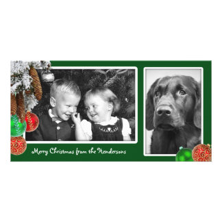 Kids and Dog Two Photo Christmas Card