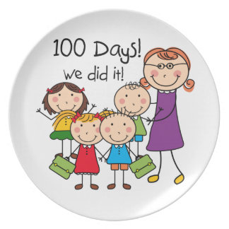 Kids and Female Teacher 100 Days Party Plates