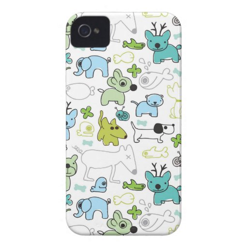 kids animal background pattern Case-Mate iPhone 4 case