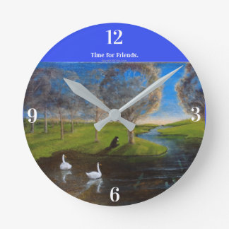 Kids' Animal Clock with Beaver, Salmon and Swans