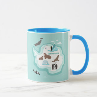 Kids Animal Map of Antarctica Mug