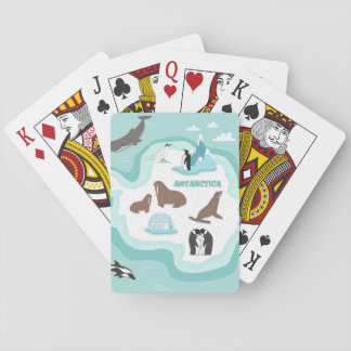 Kids Animal Map of Antarctica Playing Cards