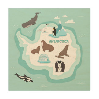 Kids Animal Map of Antarctica Wood Wall Art