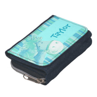 Kids aqua blue pony /horse add your name wallet