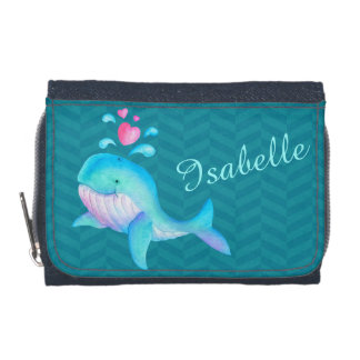 Kids aqua teal pink sea whale add your name wallet