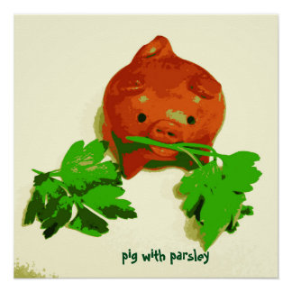 Kid's Art Poster Pig with Parsley Series Art