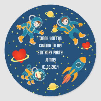 Kids Astronauts love space travel Round Sticker
