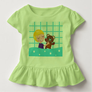 Kids baby body : Green with teddy bear Toddler T-Shirt