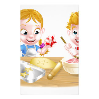 Kids Baking Cakes and Cookies Stationery