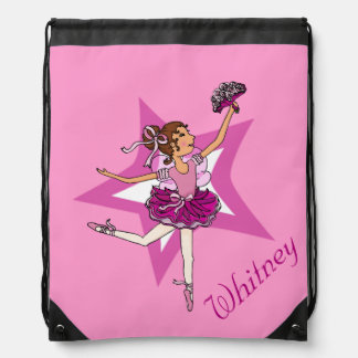 Kids ballet ballerina pink name drawstring bag