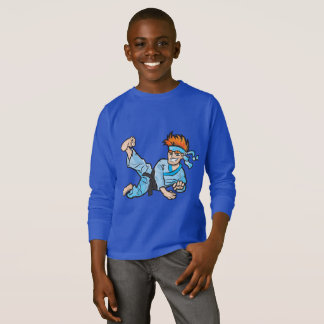 Kids' Basic Long Sleeve T-Shirt, Royal with karate T-Shirt