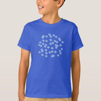 Kids' basic T-shirt with blue polka dots