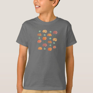 Kids' basic T-shirt with pumpkins and leaves