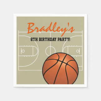 Kids Basketball Birthday Party Disposable Serviettes